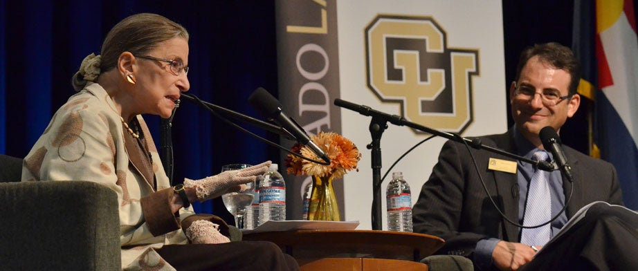 Supreme court Justice Ruth Bader Ginsberg speaking at CU