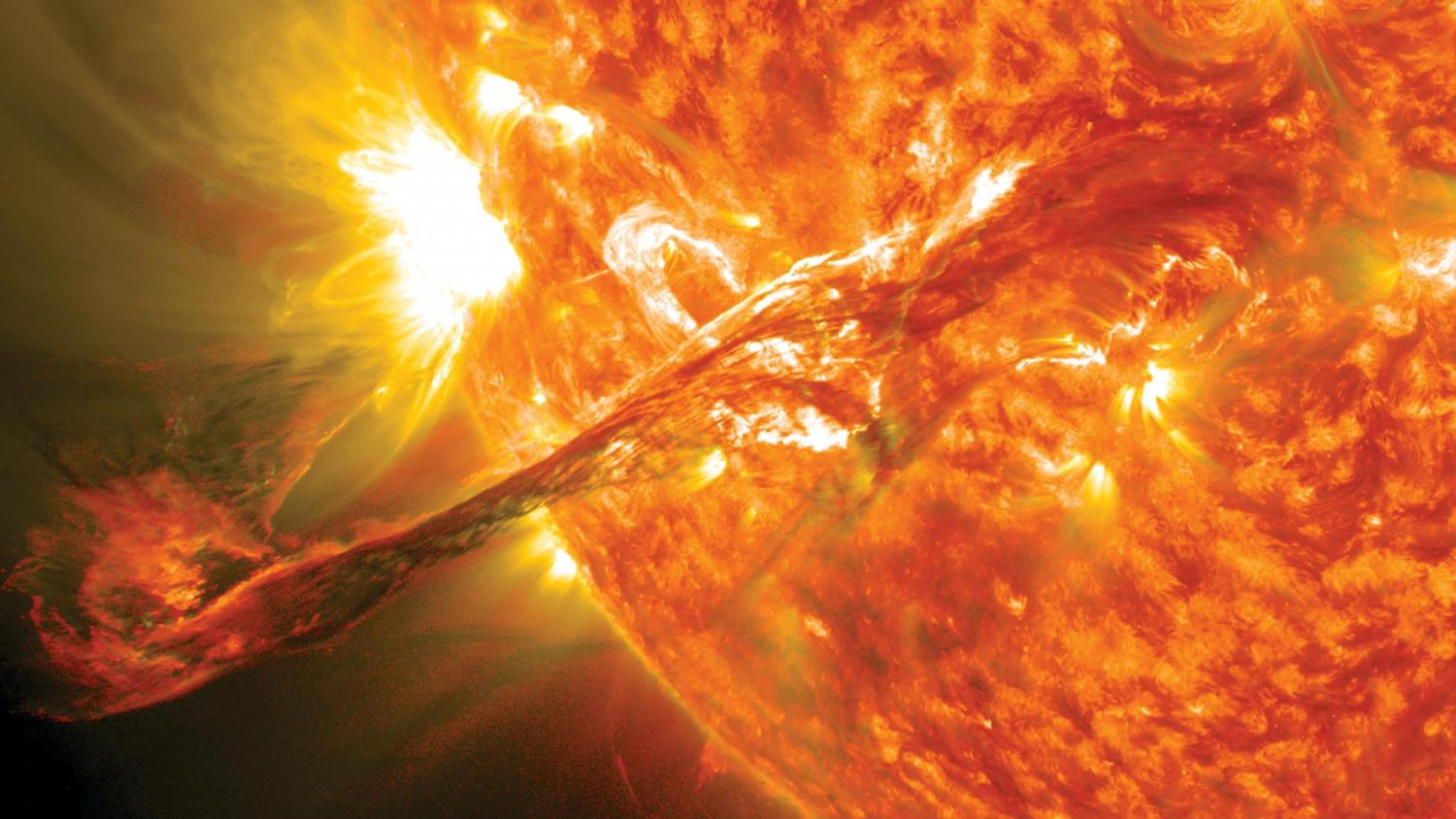 Coronal mass ejection erupts on the sun