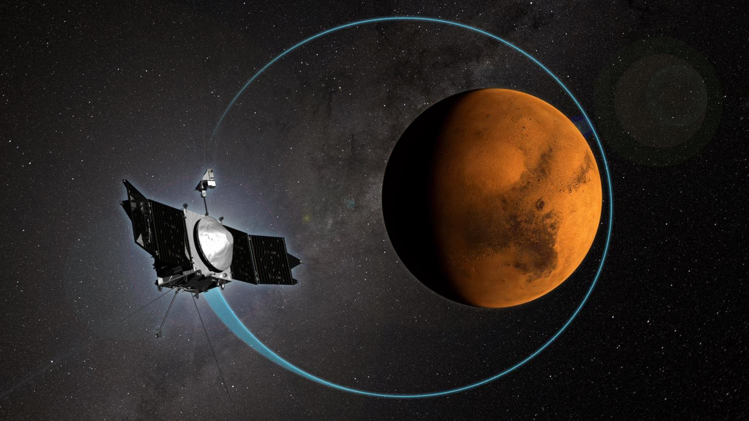 Graphic rendition of MAVEN in space