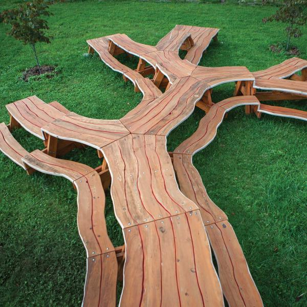 Tree picnic table
