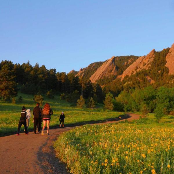 Hikers on Chautauqua Park trail