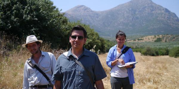 Dimitri Nakassis and students researching in Greece