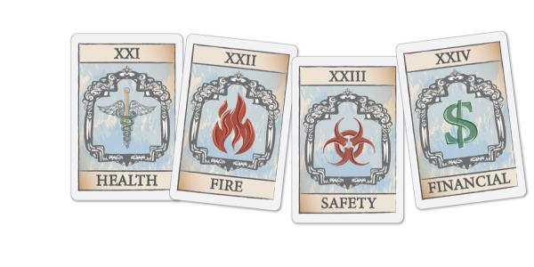 Tarot cards that read health, fire, safety, financial
