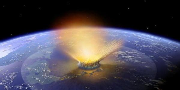 Illustration of asteroid impact from 66 billion years ago