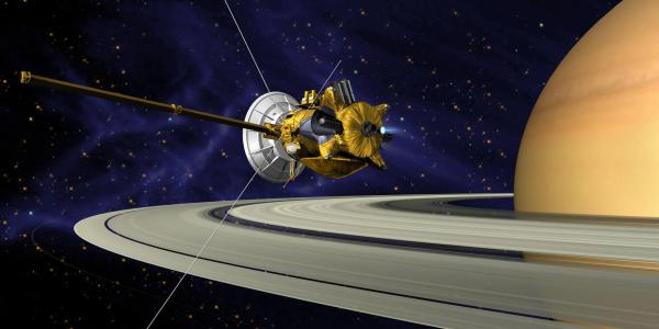 An artist's concept of Cassini during the Saturn orbit insertion. (NASA)