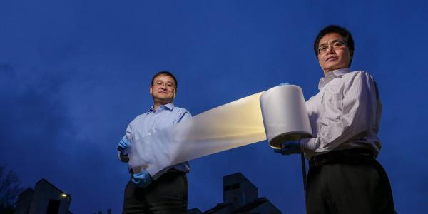 Yang and Yin with roll of cooling material