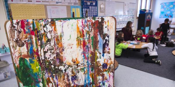 Art easel in a classroom with young children