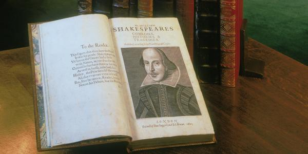 First Folio opened to display portrait of William Shakespeare