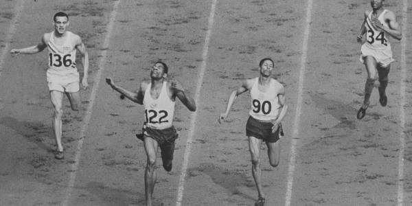 David Bolen, right, running in the 400-meter dash during the 1948 Olympic Games in London