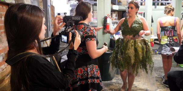 Students photograph Recycled Runway participants
