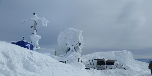 A radar dish covered in a layer of ice.