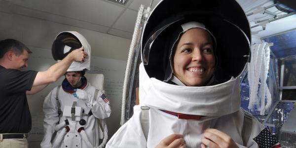 Students in spacesuits
