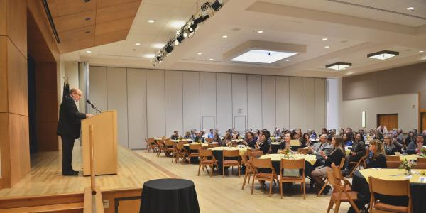 Chancellor DiStefano speaks at the 2017 Staff Council years of service appreciation event