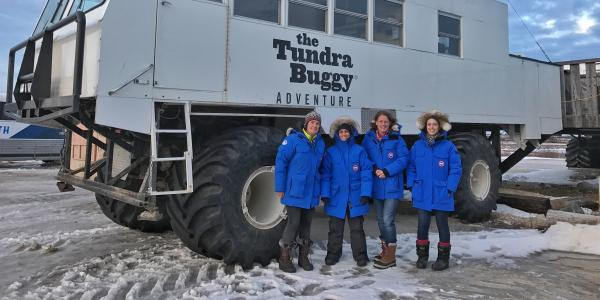 Students in front of Arctic Tundra Buggy