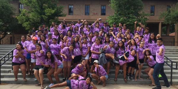 a group of Upward Bound students on the CU Boulder campus