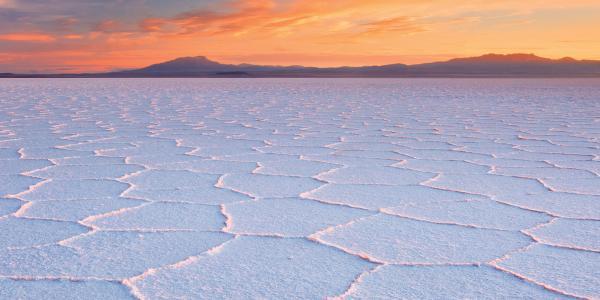 Salty lake bed