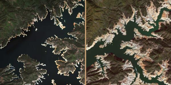 Before-and-after images of drought-diminished Lake Shasta