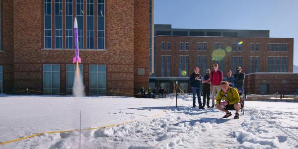 Students testing rockets