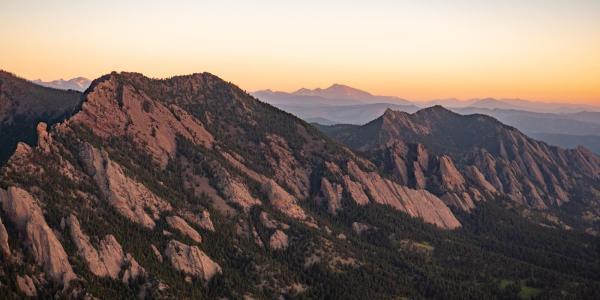 Boulder flatirons aerial