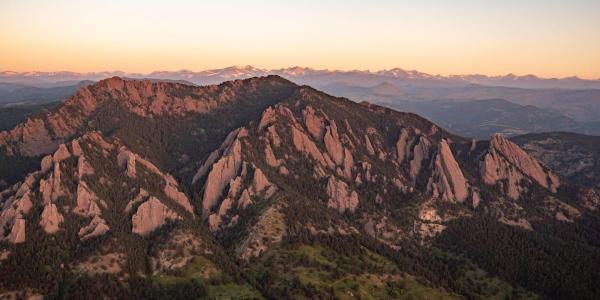 Boulder Flatirons at sunset