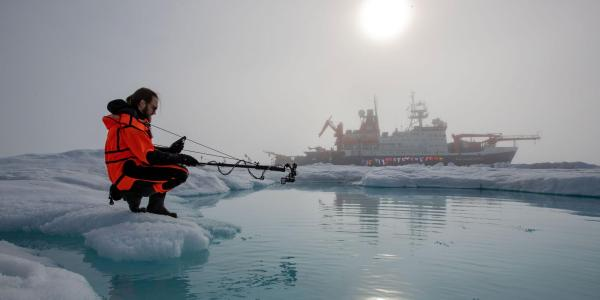 Scientist in the arctic
