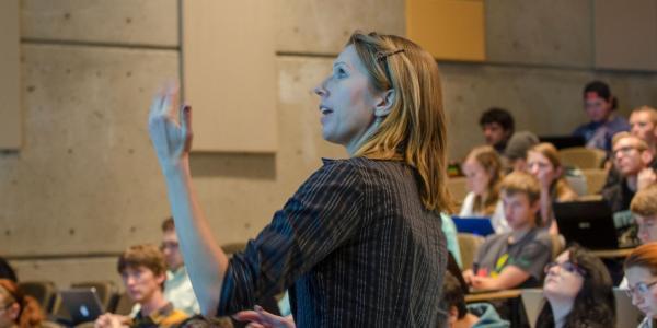 Professor teaching Computer Science class