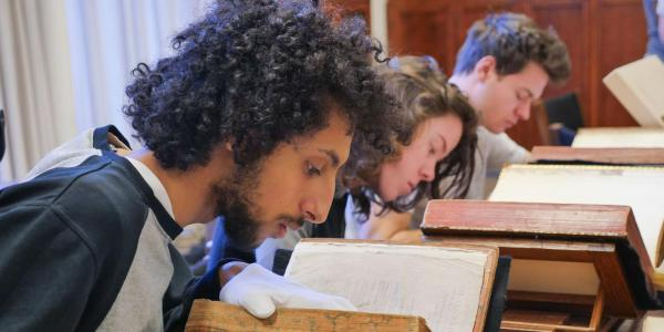Students reading history books