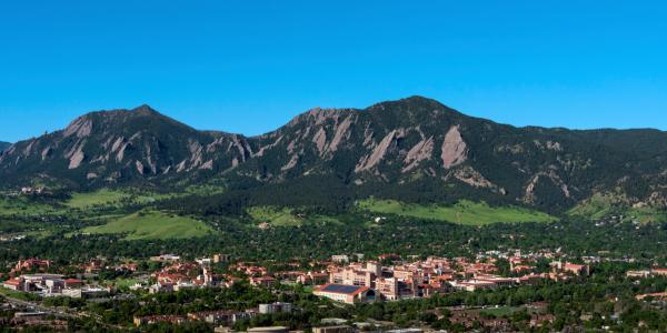 CU Boulder campus with Flatirons in the background
