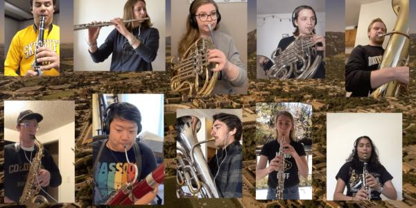 Students playing instruments in remote places