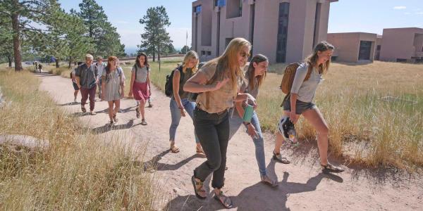 Students hiking at NCAR