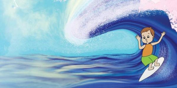 Illustration of boy surfing