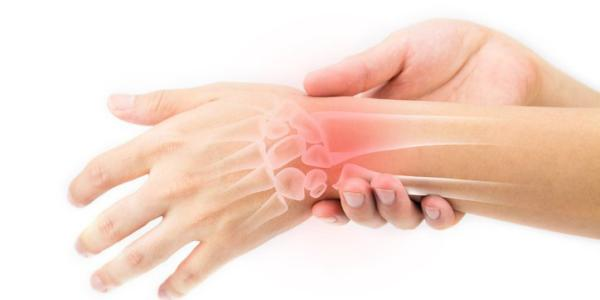 Illustration of pain in a person's wrist