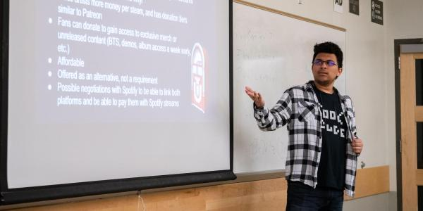 Student presenting in class