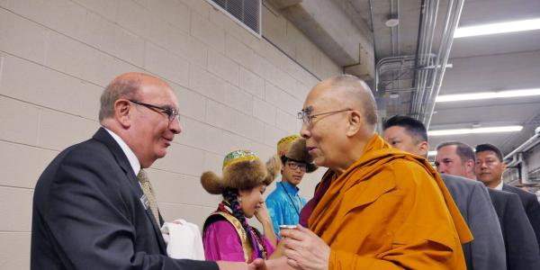 Chancellor Phil DiStefano with the Dalai Lama in 2016