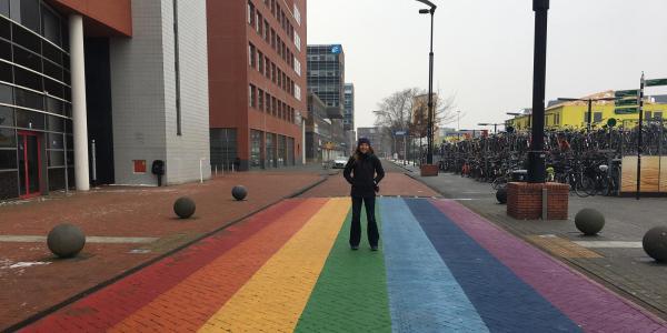 Student on Rainbow Street in Netherlands
