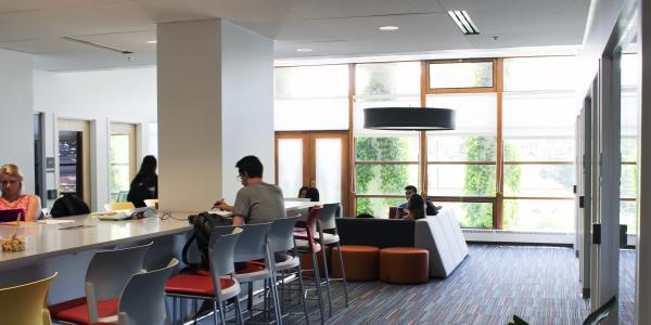 Students work at the Student Engagement & Collaboration Area
