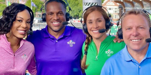 Kara Goucher, second from right, with her NBC Sports broadcast colleagues