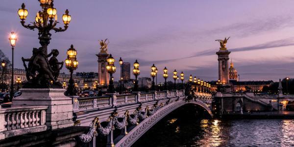 Paris, France bridge in the evening