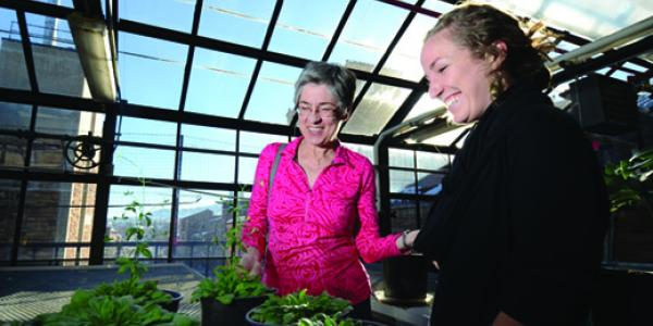Student and professor in greenhouse