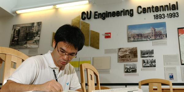 Student studying in math and engineering building
