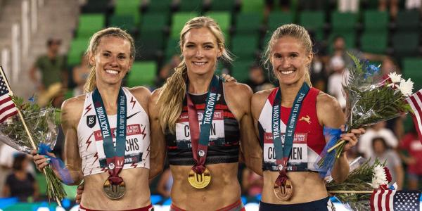 Emma Coburn, center, and Val Constien, right, on the podium after the 2020USATF Olympic Trials steeplechase finals