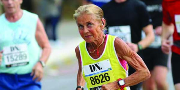Elderly woman competing in a race