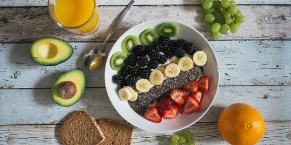 Breakfast food and juice