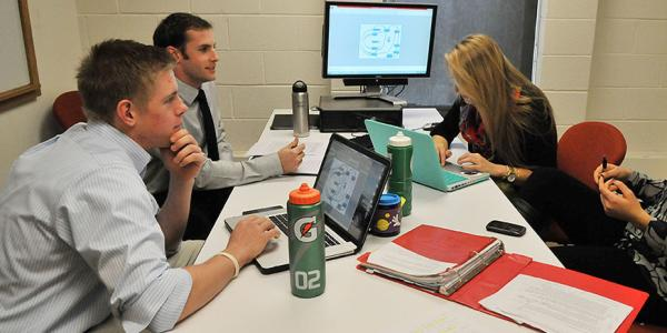 Students working together on advertising project