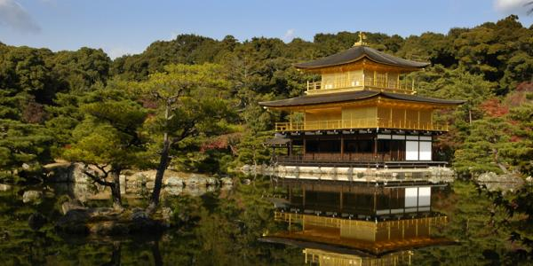 Asian building on a lake