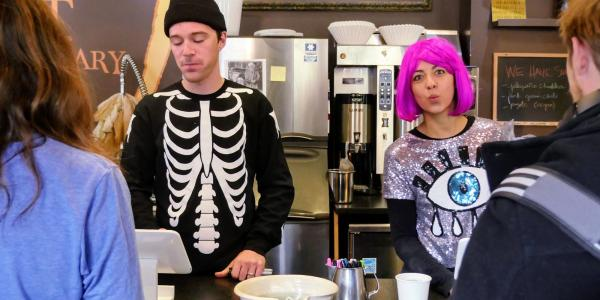 Laughing Goat baristas dressed in halloween costumes