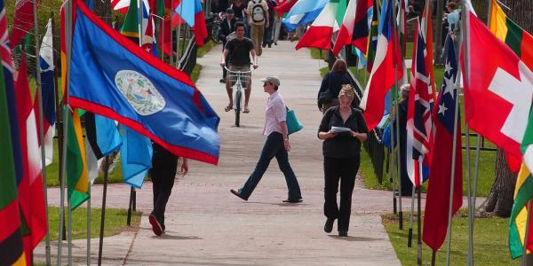 Flags of the world on campus