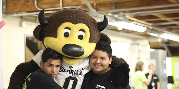 CU students with Ralphie mascot