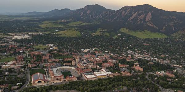 Arial of CU Boulder and the Flatirons