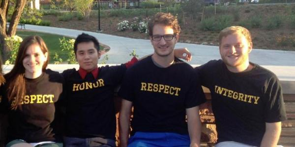 Students in t-shirts with honor words